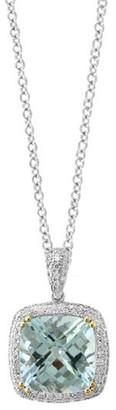 Effy Fine Jewelry 14K 4.38 Ct. Tw. Diamond & Aquamarine Pendant Necklace