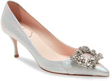 Roger Vivier Flower Strass Buckle Genuine Snakeskin Pump