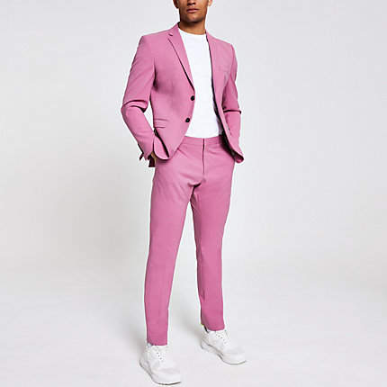 River Island Selected Homme pink slim fit suit trousers