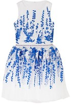 David Charles Ivory and Blue Floral Embroidered Dress