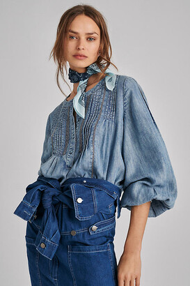 Pilcro And The Letterpress Pilcro Norah Pintucked Blouse By in Blue Size S