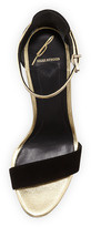 Brian Atwood B by Roberta Two-Tone Ankle-Strap Wedge, Black/Gold