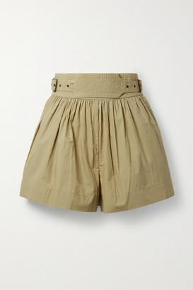 Ulla Johnson Adeline Belted Cotton-poplin Shorts - Army green