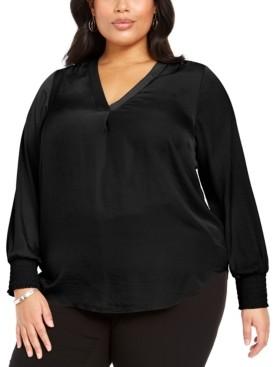 Alfani Plus Size V-Neck Smocked-Sleeve Swing Blouse, Created for Macy's