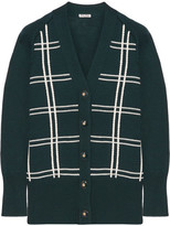 Miu Miu Oversized Checked Wool Cardigan - Green