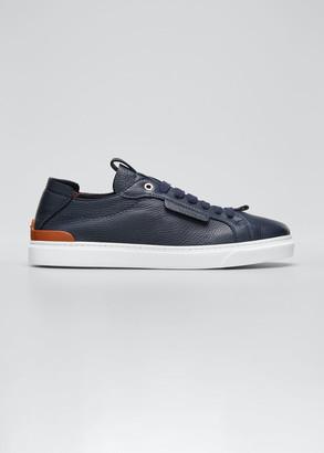 Ermenegildo Zegna Men's Deerskin Leather Low-Top Sneakers