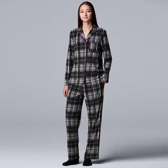 Women's Simply Vera Vera Wang 3-Piece Velour Pajamas & Socks Set