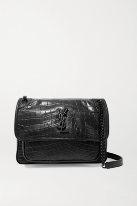 Saint Laurent Niki Medium Glossed Croc-effect Leather Shoulder Bag - Black