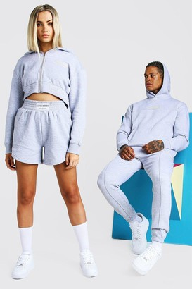 boohoo Mens Grey ABODE Hers 3 Piece Cropped Hoodie & Short Set, Grey