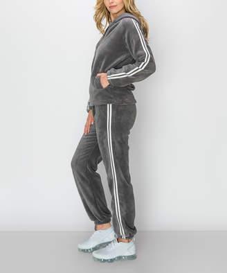 Kimberly C Women's Casual Pants Grey - Gray & White Double-Stripe Teddy Fleece Zip-Up Hoodie & Joggers - Women