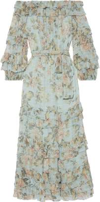 Zimmermann Tempest Ruffle Off-the-shoulder Tiered Floral-print Silk-georgette Midi Dress