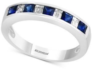 Effy Gemstone Bridal by Sapphire (5/8 ct. t.w.) & Diamond (1/4 ct. t.w.) Band in 18k White Gold
