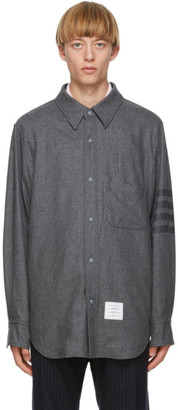 Thom Browne Grey Flannel 4-Bar Snap Front Shirt Jacket