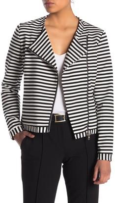 PREMISE STUDIO Long Sleeve Striped Moto Jacket (Petite)