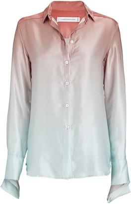 CHRISTOPHER ESBER Silk Ombre Button-Down Shirt