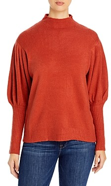 Elan International Puff Sleeve Turtleneck Sweater