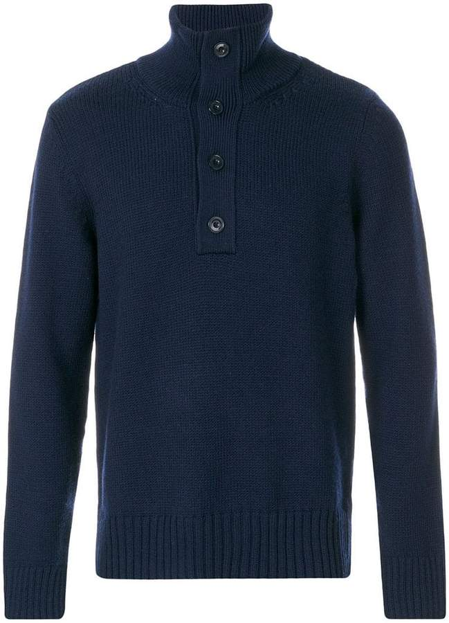 Closed buttoned high neck jumper