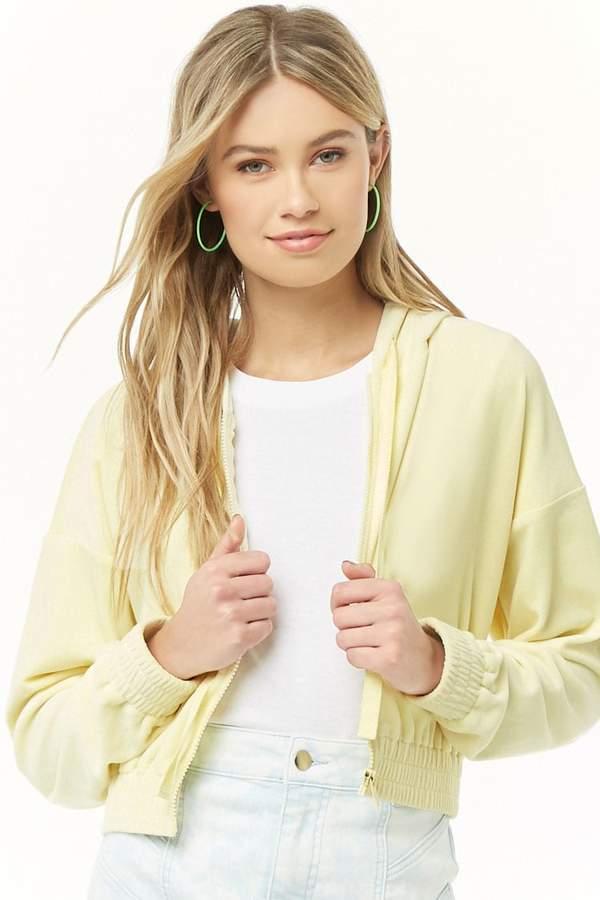 Forever 21 Hooded Velour Zip-Front Jacket