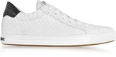 DSQUARED2 Tennis Club White and Black Embossed Snake Leather Men's Sneakers