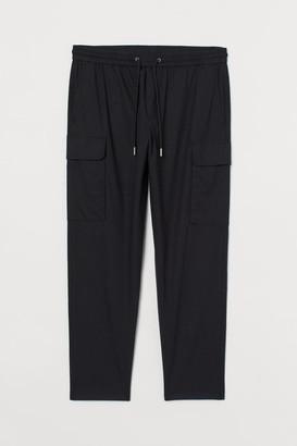 H&M Linen-blend Cargo Pants - Black