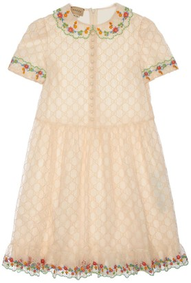 Gucci All Over Embroidered Tulle Dress