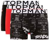 Topman Black And Red 'Acclaimed' Print Trunks 3 Pack*