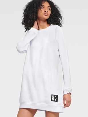 DKNY Women's Long Sleeve Dress With Overlap Cuff Detail - White - Size S