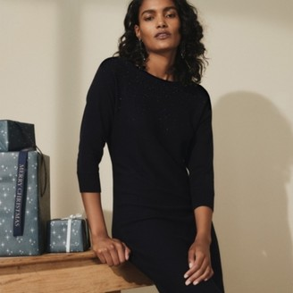 The White Company Scatter Sparkle Batwing Knitted Dress, Navy, 6