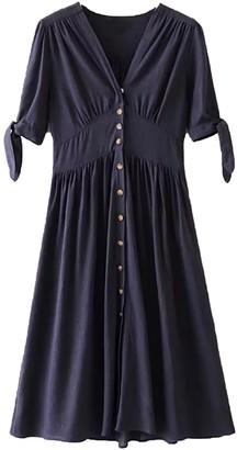 Goodnight Macaroon 'Hillary' V Neck Button Down Tie Sleeve Midi Dress (3 Colors)