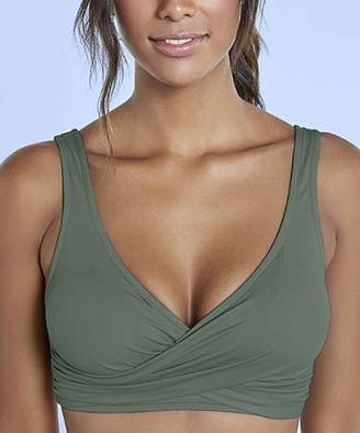Venus Women's Bikini Tops ARG - Army Green Ruched Crossover Lace-Back Bikini Top - Women