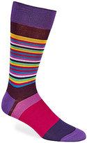 Bugatchi Mercerized Combo Stripe Mid-Calf Socks