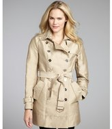 Sam Edelman camel cotton blend stud and crystal collar double breasted trench