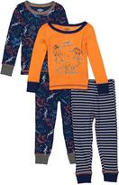 Orange & Blue Dino Four-Piece Pajama Set - Toddler