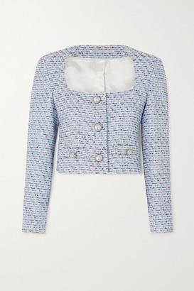 Alessandra Rich Cropped Crystal-embellished Sequined Tweed Jacket - Blue