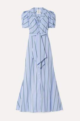 Rosie Assoulin Striped Cotton-blend Poplin Maxi Dress - Light blue