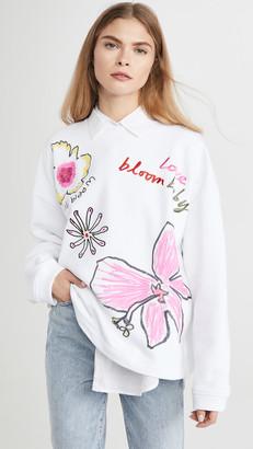 Mira Mikati Floral Print & Embossed Sweater