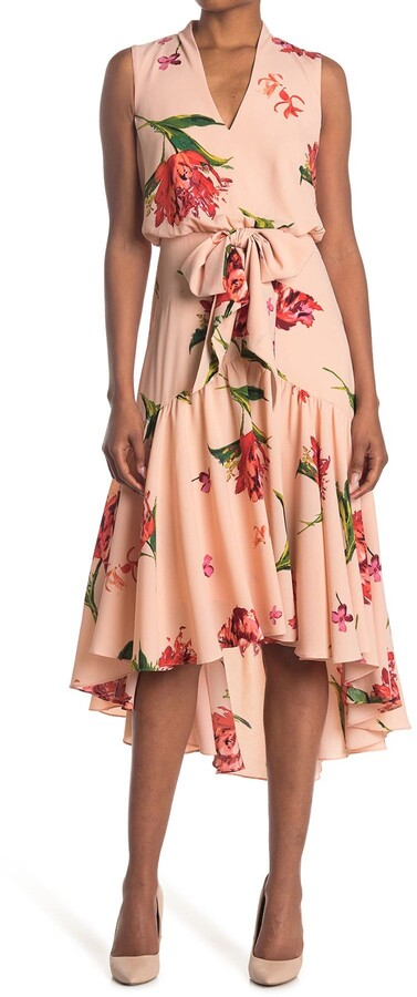 Thumbnail for your product : Taylor Printed V-Neck Hi-Lo Tiered Dress