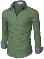 Doublju Mens Fitted Button Down Checkered Casual Shirt, Beige