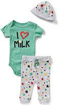 Baby Starters Baby Boys 3-9 Months I Love Milk Bodysuit, Star-Print Pants, & Star Beanie Set