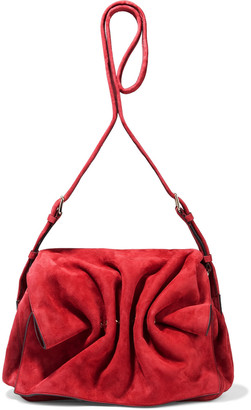 Valentino Bloomy Gathered Suede Shoulder Bag