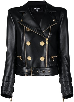 Balmain Button-Detail Leather Biker Jacket