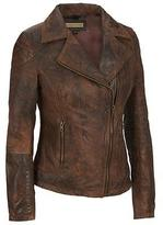 Wilsons Leather Adult Plus Size Web Buster Asymmetric Zip Antique Leather Cycle