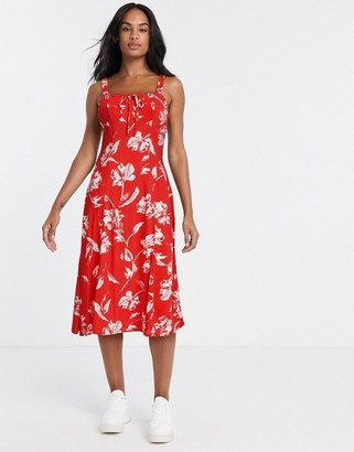 Gilli midi dress in red floral
