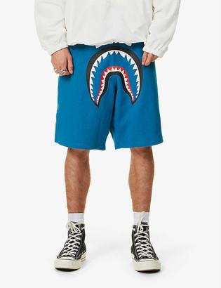 A Bathing Ape Shark print cotton-jersey shorts