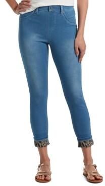 Hue Women's Printed-Cuff Ultra Soft High-Waist Denim Leggings