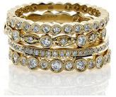 Almor Design 5/8 CT TW Diamond 18K Gold Set of 4 Stackable Rings