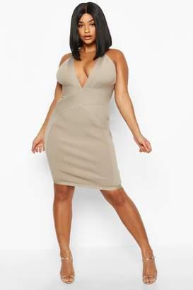 boohoo Plus Plunge Sculpting Bandage Mini Dress