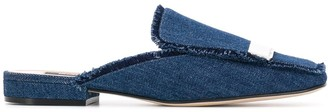 Sergio Rossi Flat Denim Slippers