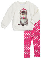 Kids Headquarters Girls 2-6x Faux Fur Kitty Pullover and Leggings