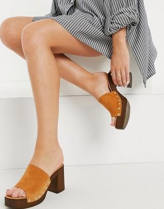 Kg Kurt Geiger KG by Kurt Geiger relegate mule heeled sandals in tan